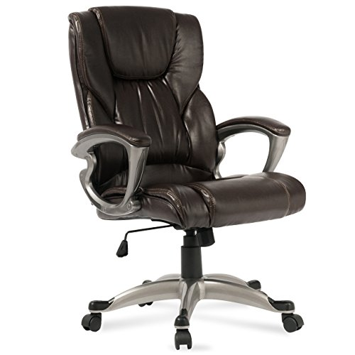 (Belleze Executive High-Back Chair Faux Leather Office Padded Chair Tilt Swivel, Mocha)