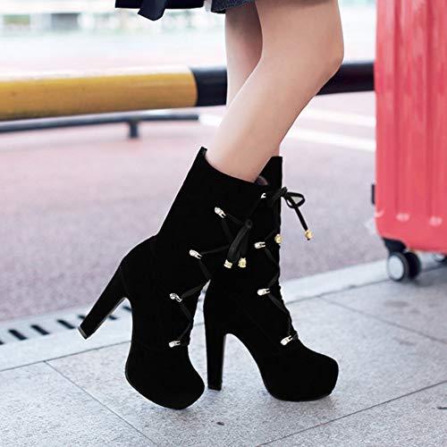 Femmes Taoffen Haut Talon Chaussures Bottes Plateforme Noir 5grvqBwgx