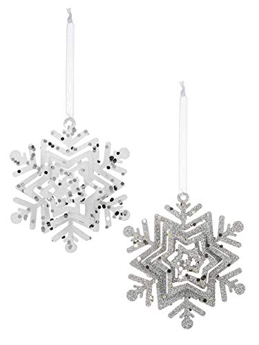 ing Snowflake Ornaments Set of 2 Assorted ()