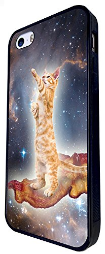 998 - Cool Fun Cute Ginger Kitten Cat Feline Pet Bacon Universe Milky Way Love Food Design iphone SE - 2016 Coque Fashion Trend Case Coque Protection Cover plastique et métal - Noir