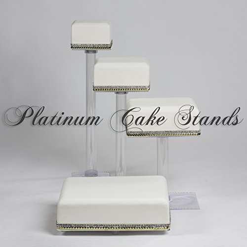 4 TIER CASCADE WEDDING CAKE AND CUPCAKE STAND SQUARE (SQ415)