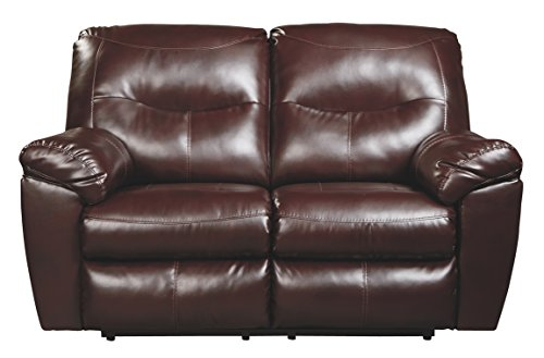 (Ashley Furniture Signature Design - Kilzer DuraBlend Reclining Loveseat - Contemporary Reclining Couch - Mahogany )