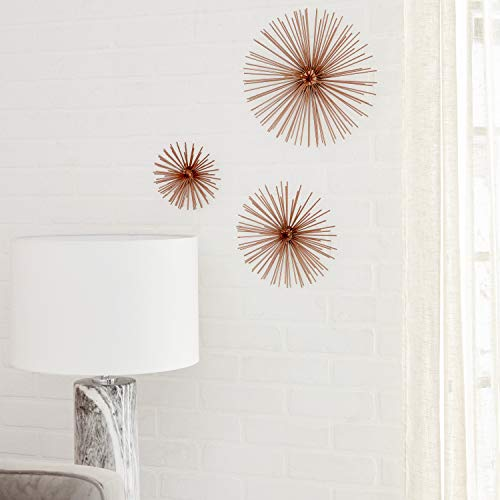 CosmoLiving by Cosmopolitan 50373 Contemporary Style 3D Round Copper Metal Starburst Wall Decor Sculptures | Set of 3: 6