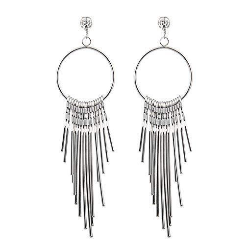 14k Gold Gypsy Hoop Earrings - Bohemian Chandelier Coin Dangle Earrings - Gypsy Lightweight Filigree Hoops with Disc Charms Vintage Tibetan Silver Earring Hoop Dangle Earring for Women Fashion Jewelry (Sliver)