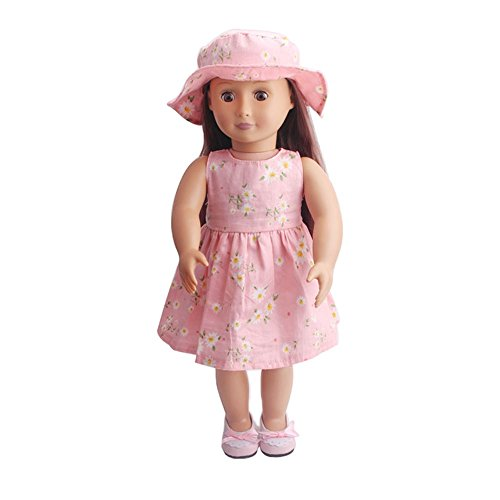 Londony Baby Girls Floral Dresses and Hat for 18 inch Our Ge