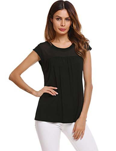 - Zeagoo Womens Pretty Round Neck Cap Sleeve Shirts Plain Fashion Tops Pleated Tunic Blouse (Black S)
