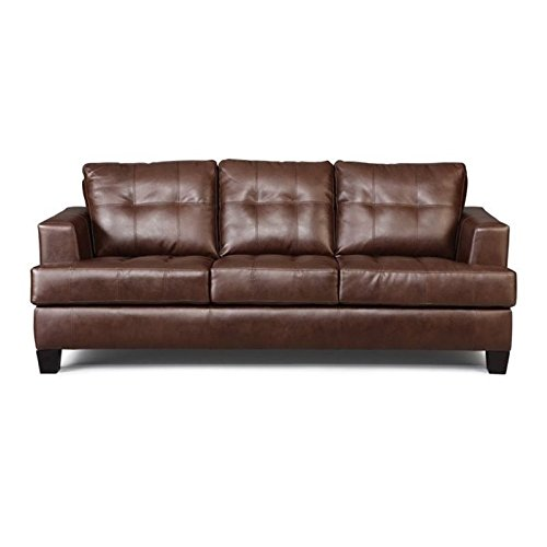 Bowery Hill Leather Contemporary Tufted Sofa in Dark Brown