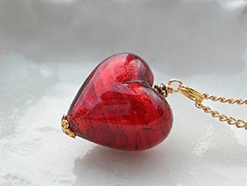 """Red Heart Necklace In Murano Glass 16"""" Chain"""