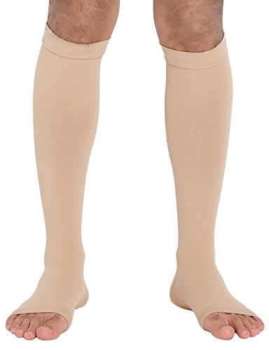 ChinFun Open Toe Toeless Compression Pressure Sleeve Socks 20-30mmHG Leg Support Graduated Shin Splints Circulation Recovery Varicose Veins Pain Relief Sports Gear Men Women Nude Skin Color Size L