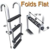 RecPro Marine PONTOON BOAT 4 STEP FOLDING BOARDING LADDER 300 LB CAPACITY AL-B4