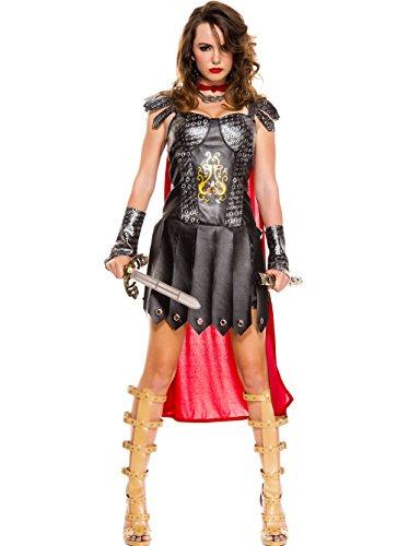 MUSIC LEGS Women's Medieval Warrior Queen, Black/Red, Small/Medium ()