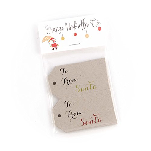 24- From Santa; Merry Christmas Gift Tags, Kraft Brown Christmas Gift Wrap Tags (MLT-107-KR) (Four Santa)
