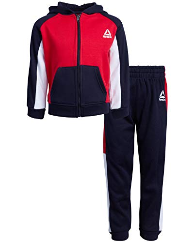Reebok Boys\' 2-Piece Athletic Fleece Tracksuit Set with Zip Up Jacket and Jog Pants, Bright Navy/Red, Size 8'