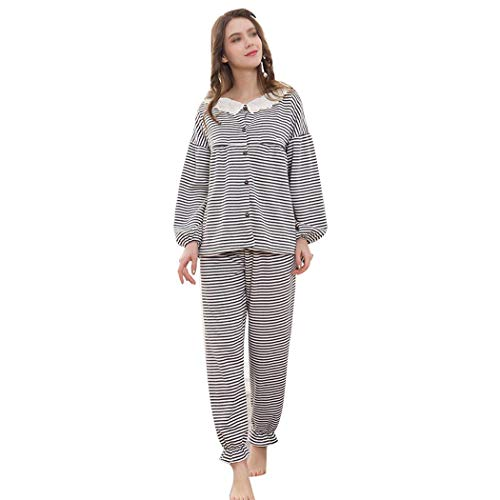 Pijamas Para Prenatales Conjunto Embarazadas Y Metro Bambú Algodón Amamantamiento B Mujeres Rayas A color Postnatales Tamaño Black De Huifei 4EXw7nvv