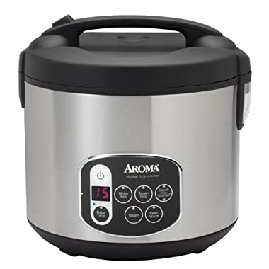 Aroma Housewares 20-Cup (Cooked) (10-Cup UNCOOKED) Digital Rice Cooker & Food Steamer, Stainless Steel Exterior (ARC-1010SB)