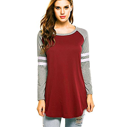 Price comparison product image Clearance! Kstare Women Tops Blouse Autumn Winter Loose Long Sleeve T-Shirts Sweatshirts Casual Tops (Red A,  XL)