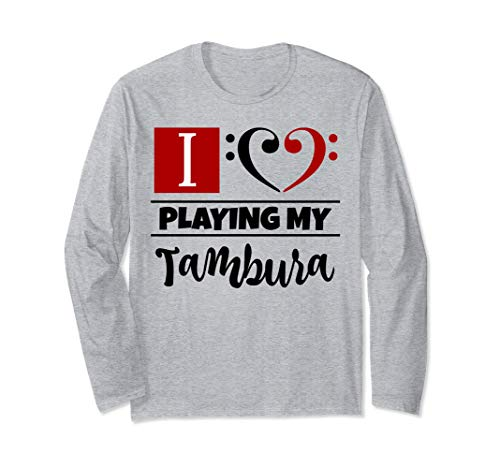 Double Black Red Bass Clef Heart I Love Playing My Tambura Long-Sleeve T-Shirt