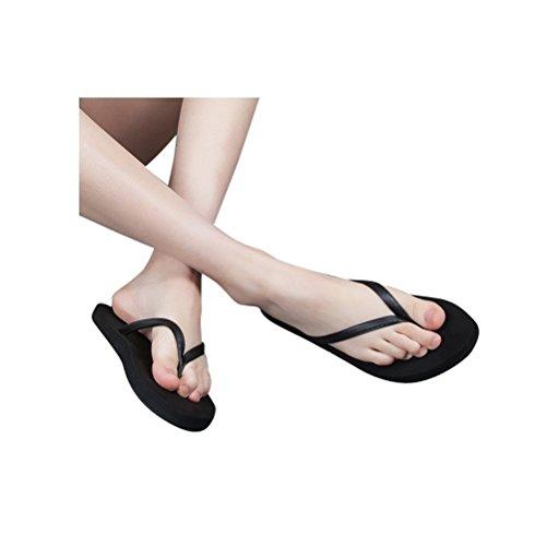 Weiyin Unisex Flip Flops Strand Sandaler Svart