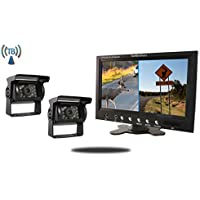 Tadibrothers 7 Inch Split Monitor with 2 Wireless Mounted RV Backup Cameras