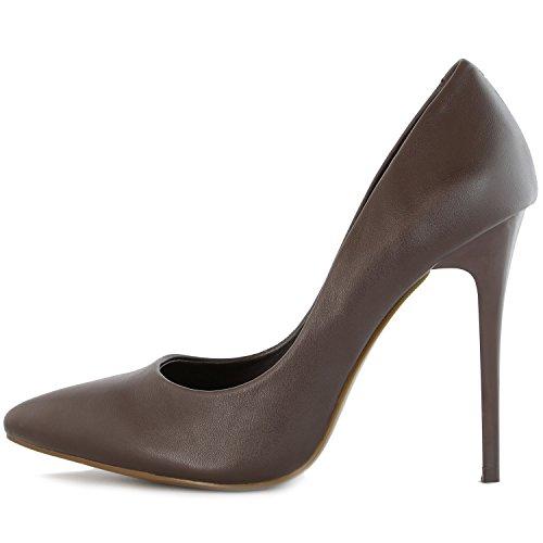 DailyShoes Womens Classic Fashion Stiletto Pointed Toe Paris-01 High Heel Dress Pump Shoes Brown Pu yPPyhf