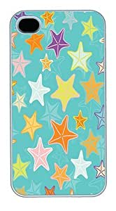 iPhone 4S Cases and Covers,Cartoon Stars Pretty Backgrounds Custom Slim Hard Case Snap-on PC Plastic Case Cover Shell for Apple iPhone 4S/4 White