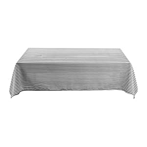 Deconovo Decorative Striped Pattern Rectangular Tablecloth Water Resistant and Spill-proof Tablecloths for Rectangle Tables 54W x 72L Inch White and Black