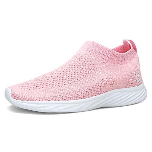 EAST LANDER Walking Shoes for Men and Women Flyknit Slip-on Sneakers Light Athletic Shoes SPT003-W1-39,Pink01,9 B(M) US Women/6 D(M) US Men
