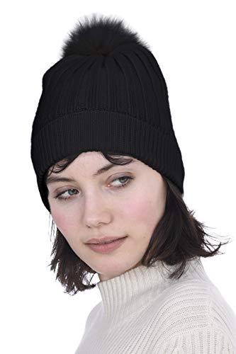 Cashmeren Women's Real Fur Pom-Pom Beanie 100% Pure Cashmere Cuffed Brim Hat Ultra-Soft and Warm (Black)