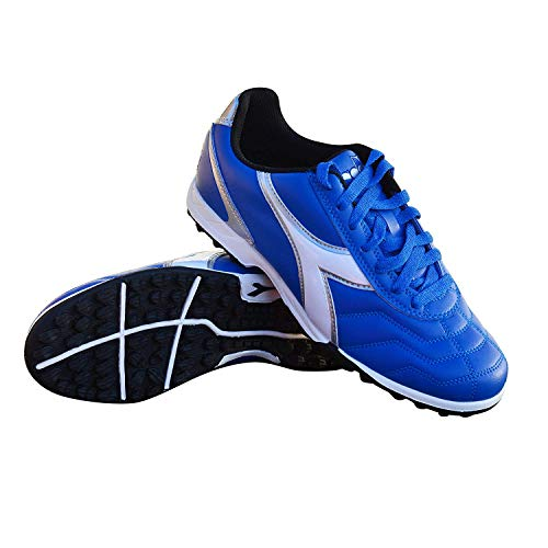 Diadora Men's Capitano TF Turf Soccer Shoes (10.5, Royal/White/Silver)