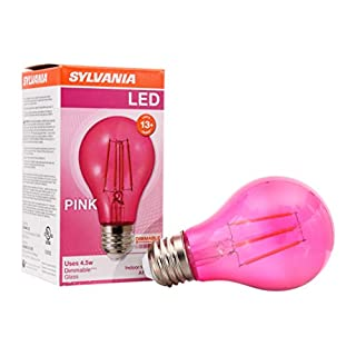 SYLVANIA LED Pink Glass Filament A19 Light Bulb, Dimmable, Efficient 4.5W, E26 Medium Base, 1 pack