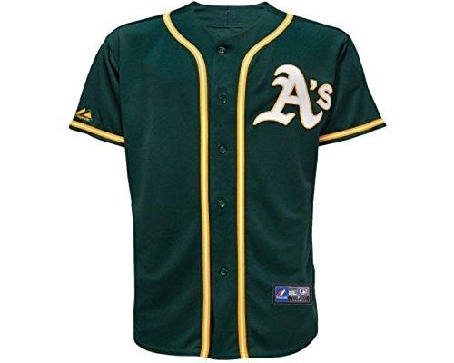 Majestic Athletic Replica Alternate Jersey - Majestic Oakland Athletics MLB Kids Alternate Green Replica Jersey - Kids Large (7)