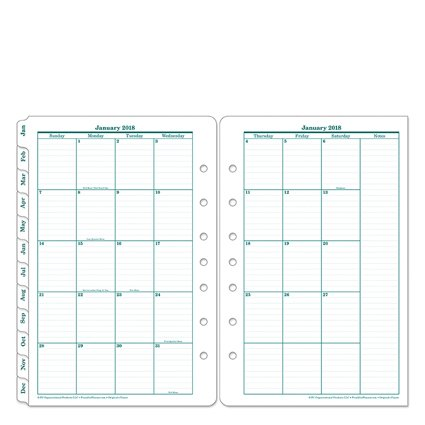 Classic Original Two Page Monthly Ring-bound Tabs - Jan 2018 - Dec 2018