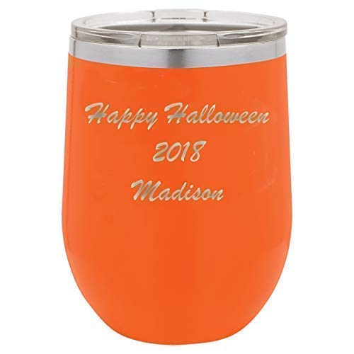 Happy Halloween Stainless Steel Tumbler Custom Engraved with a Clear Lid including Choices of 12, 20, 30 ounce, Color, Font, Name, Straw, Spill Proof Slide Lid and Your -