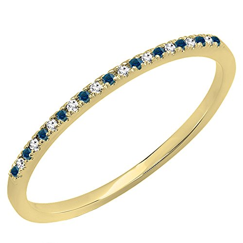 0.08 Carat (ctw) 10K Gold Round Blue&White Diamond Ladies Dainty Wedding Stackable Band