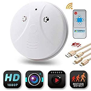 YUANHenry Smoke Detector Camera Hidden Spy Cam, HD 1080P Motion Detection Activated Mini Video Recorder Security Cameras DVR Loop Video Recorder with Gift 3 in 1 Charging Cable from YUANHenry
