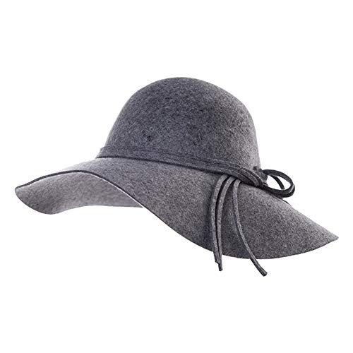 Jeff & Aimy Ladies 100% Wool Felt Porkpie Hat Fedora Church Top Hats for Women Derby Party Brim Fashionable Grey