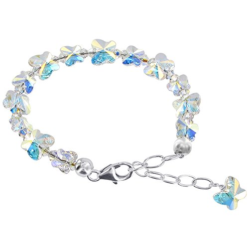 Gem Avenue Sterling Silver Butterfly Clear AB Crystal 5.5 - (Ab Bracelet)