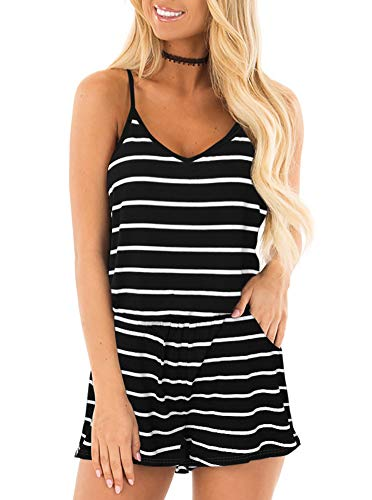 REORIA Womens Casual Summer One Piece Sleeveless Spaghetti Strap Playsuits Short Jumpsuit Beach Rompers Stripped Black Medium