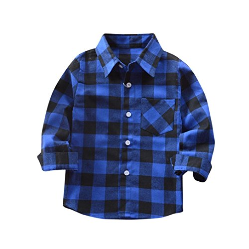 WARMSHOP Boys Girls Long Sleeve Pure Cotton Plaid T Shirt Fashion Tops Blouse Clothes (Blue, 1-2 Years ()