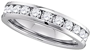 14kt White Gold Womens Round Channel-set Diamond 4.5mm Wedding Band 1.00 Cttw
