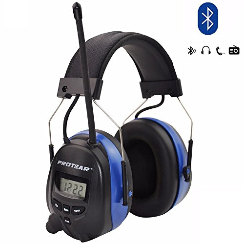 Protear Wireless Bluetooth Headphones Over Ear, AM/FM Radio Safety Earmuffs, with Rechargeable Lithium Battery & Built-in Mic, NRR 25dB Noise Cancelling Ear Protector for (Noise Canceling Radio)