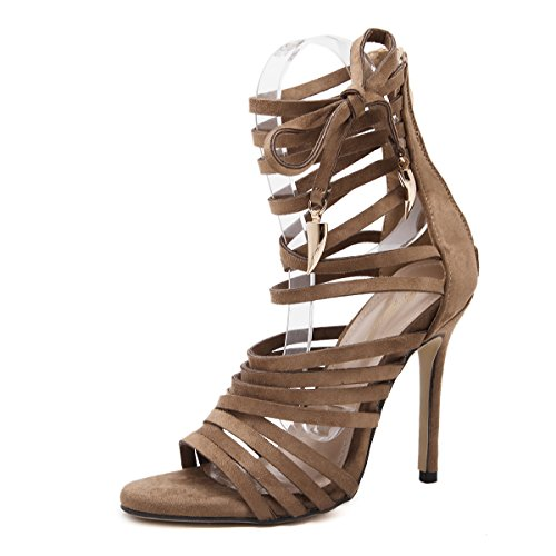 Women Heeled Sandals Ankle Strap Dress Sandals Stilettos Open Toe High Heel for Wedding Party Evening Shoes Brown