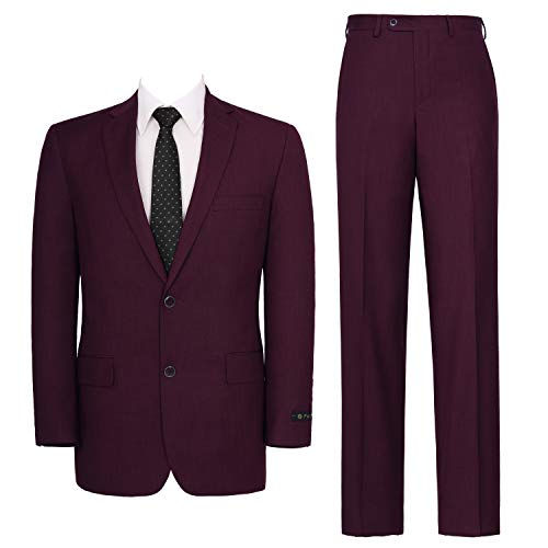 P&L Men's Two-Piece Classic Fit Single Breasted Suit Blazer Tux & Flat Front Trousers Burgundy (Mens Formal Coats)