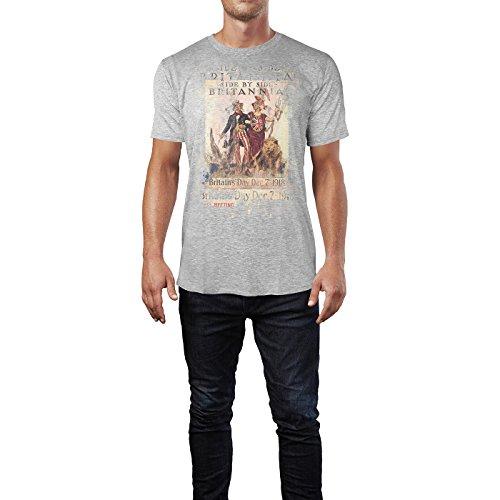 SINUS ART® Britannia Herren T-Shirts stilvolles hellgraues Cooles Fun Shirt mit tollen Aufdruck