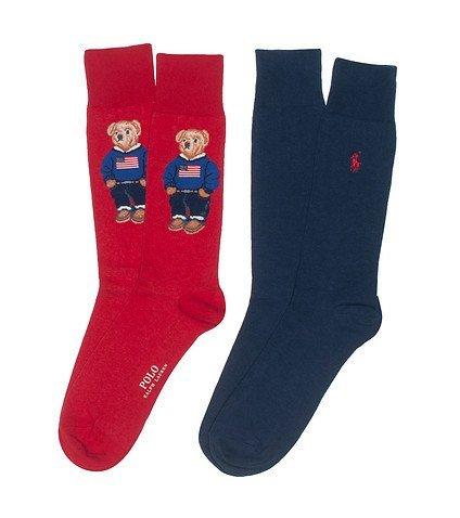 Ralph Lauren para hombre vestido pantalones de oso rojo azul marino de bandera de calcetines 2 pares unidades: Amazon.es: Zapatos y complementos