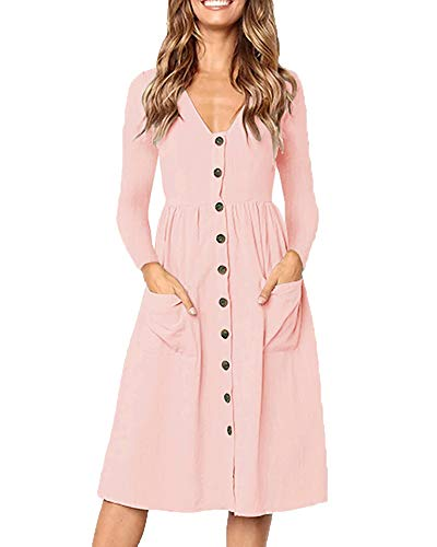 Foshow Womens Casual Long Sleeve Dresses Deep V Neck Button Down Skater Midi Dress with Pockets Pink