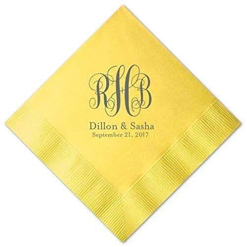 Amazon.com: Fancy Monogram Personalized Wedding Napkins
