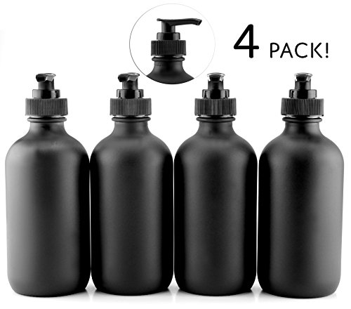 Glass Nozzle - Black Coated 8-Ounce Glass Pump Bottles (4-Pack), Black Plastic Pump Nozzles Included; Great for Lotions, Liquid Soap & Hand Sanitizer