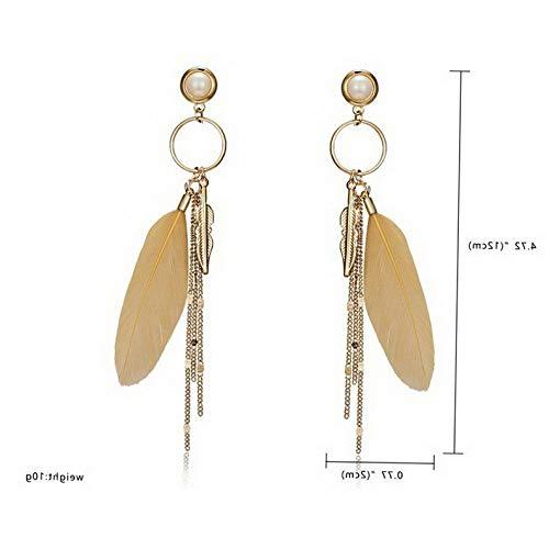 (Waldenn Fashion Elegant Feather Tassel Drop Dangle Earrings Women Charm Jewelry Gift Hot   Model ERRNGS - 12573)