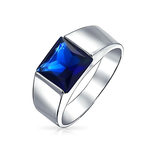 3CT Princess Cut Square Solitaire Simulated Blue Sapphire CZ Mens Engagement Ring Pinky Ring 925 Sterling Silver for Men